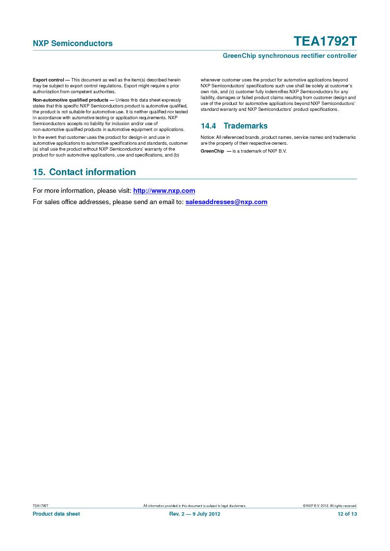 TEA1792T/N1,118 ,NXP Semiconductors厂商,DC/DC Switching Controllers 20V 0.45W 10%, TEA1792T/N1,118 datasheet预览  第12页