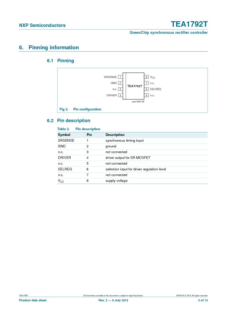 TEA1792T/N1,118 ,NXP Semiconductors厂商,DC/DC Switching Controllers 20V 0.45W 10%, TEA1792T/N1,118 datasheet预览  第3页