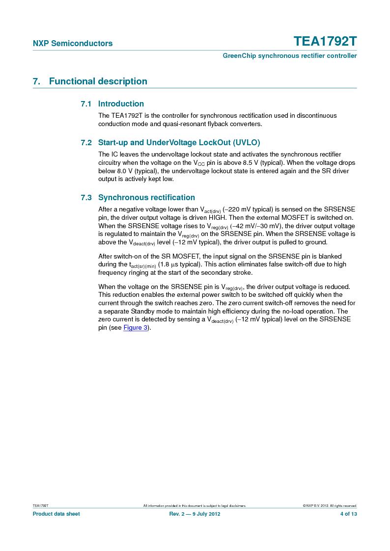 TEA1792T/N1,118 ,NXP Semiconductors厂商,DC/DC Switching Controllers 20V 0.45W 10%, TEA1792T/N1,118 datasheet预览  第4页