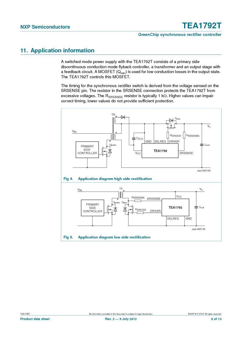 TEA1792T/N1,118 ,NXP Semiconductors厂商,DC/DC Switching Controllers 20V 0.45W 10%, TEA1792T/N1,118 datasheet预览  第8页