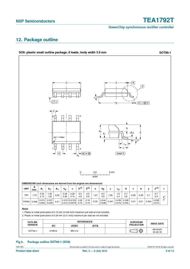 TEA1792T/N1,118 ,NXP Semiconductors厂商,DC/DC Switching Controllers 20V 0.45W 10%, TEA1792T/N1,118 datasheet预览  第9页