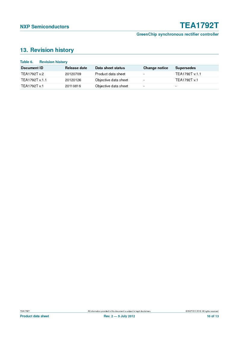 TEA1792T/N1,118 ,NXP Semiconductors厂商,DC/DC Switching Controllers 20V 0.45W 10%, TEA1792T/N1,118 datasheet预览  第10页
