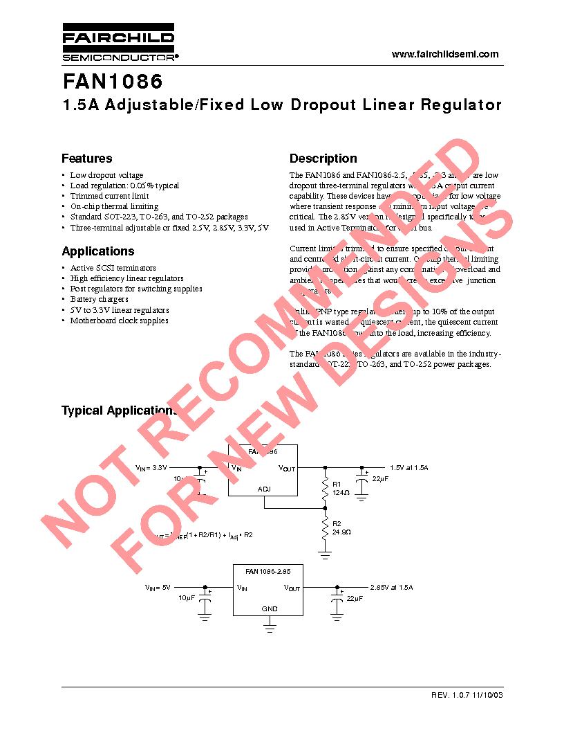 FAN1086AS50X ,Fairchild Semiconductor厂商,Low Dropout Regulators - LDO, FAN1086AS50X datasheet预览  第1页