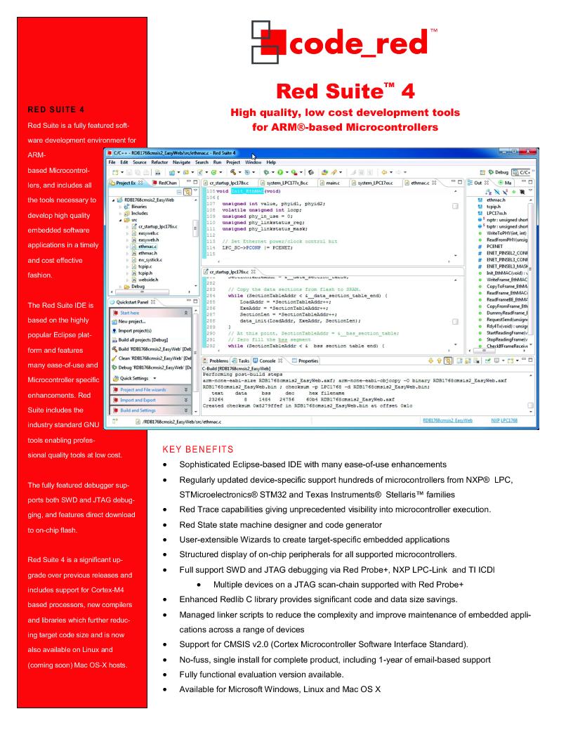 RSRDB ,Code Red Technologies厂商,Development Software RED SUITE LICENSE W/ RDB1768V2, RSRDB datasheet预览  第1页