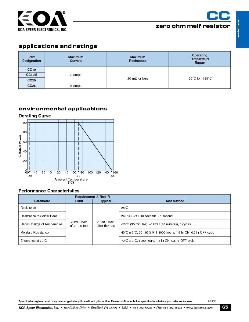 CCF1N0.63TTE ,KOA Speer厂商,Fuses 630mA AC 125V/DC 60V, CCF1N0.63TTE datasheet预览  第2页