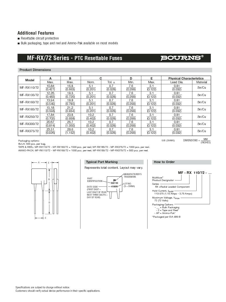 MF-RX185/72-2 ,Bourns Inc厂商,PTC Resettable Fuses 72V 1.85A-HD 40A MAX (R), MF-RX185/72-2 datasheet预览  第2页