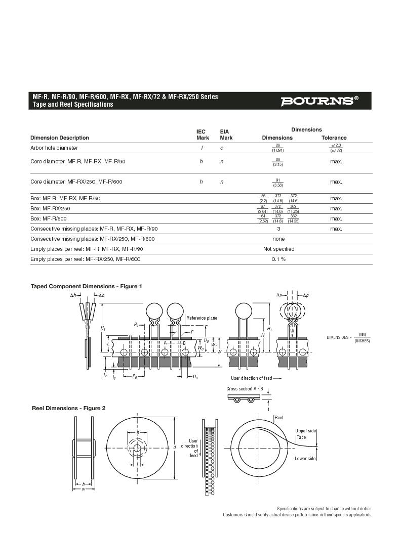 MF-RX185/72-2 ,Bourns Inc厂商,PTC Resettable Fuses 72V 1.85A-HD 40A MAX (R), MF-RX185/72-2 datasheet预览  第5页