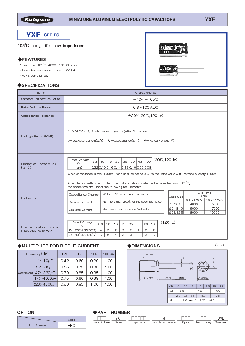 100YXF3.3MEFCTA5X11 ,Rubycon厂商,CAP ALUM 3.3UF 100V 20% RADIAL, 100YXF3.3MEFCTA5X11 datasheet预览  第1页