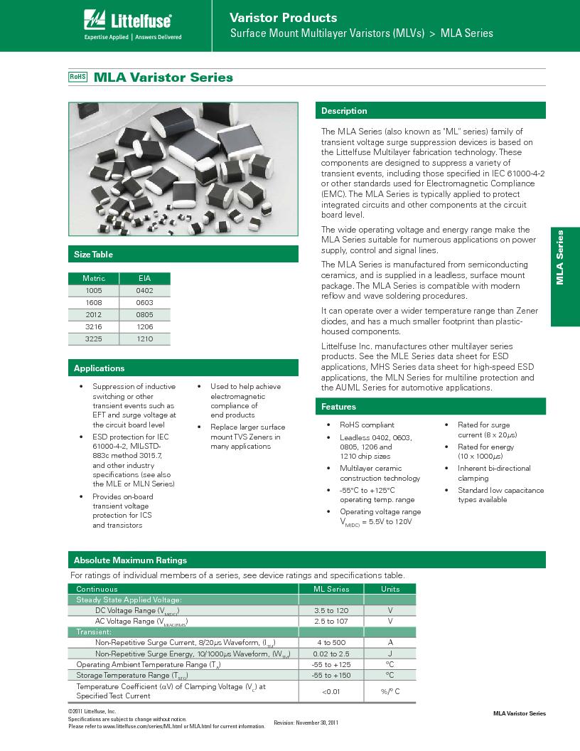 V3.5MLA0805LNH ,Littelfuse Inc厂商,Varistors 3.5V 40A 1380pF, V3.5MLA0805LNH datasheet预览  第1页