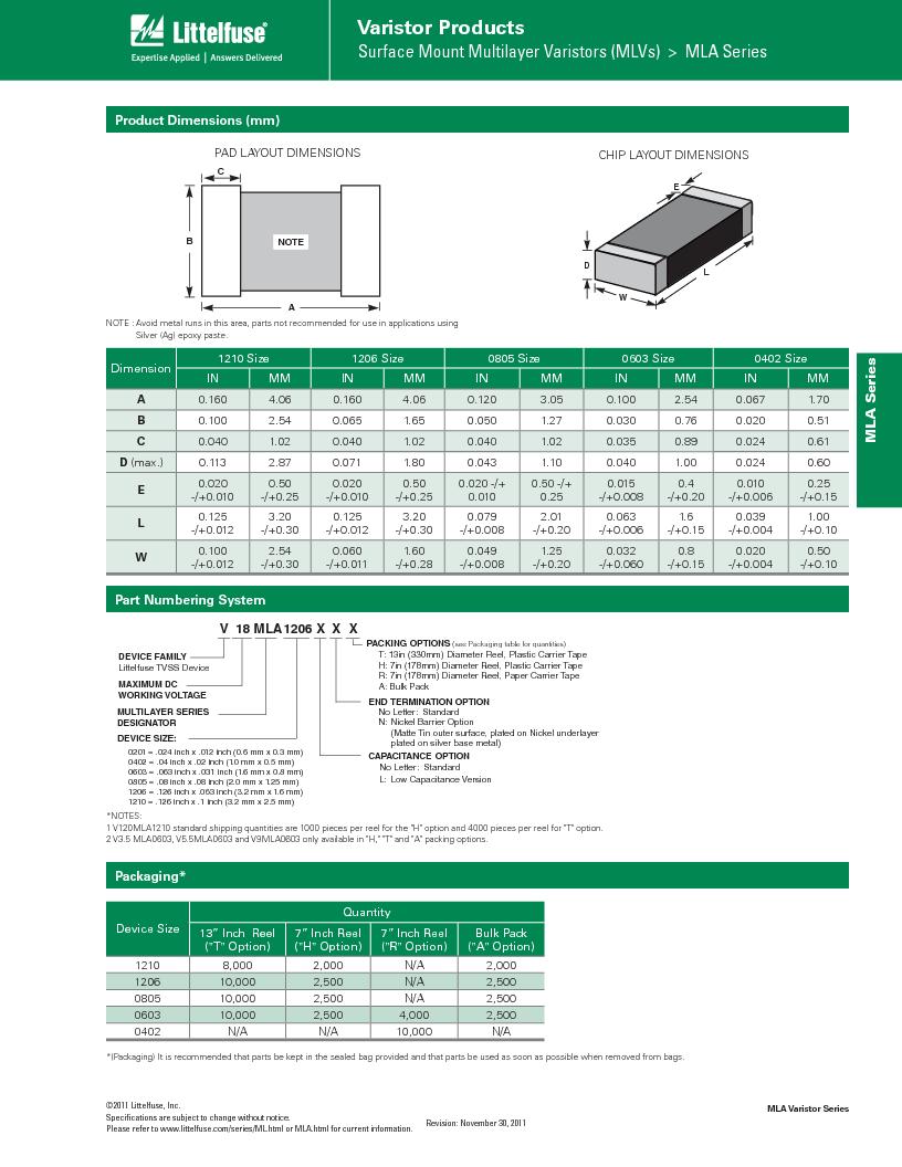 V3.5MLA0805LNH ,Littelfuse Inc厂商,Varistors 3.5V 40A 1380pF, V3.5MLA0805LNH datasheet预览  第7页