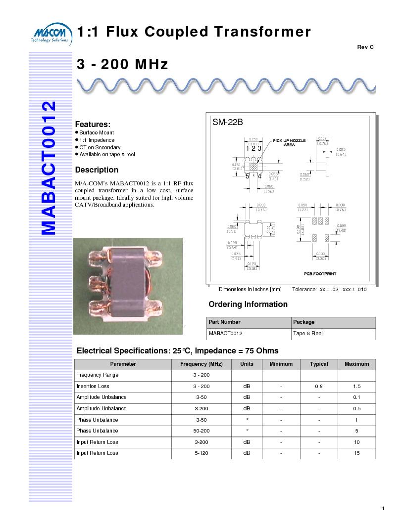 亚洲色囹��il�!깢�y`m���_1:1 75ohm il 1.5db max., mabact0012 datasheet预览 第1页