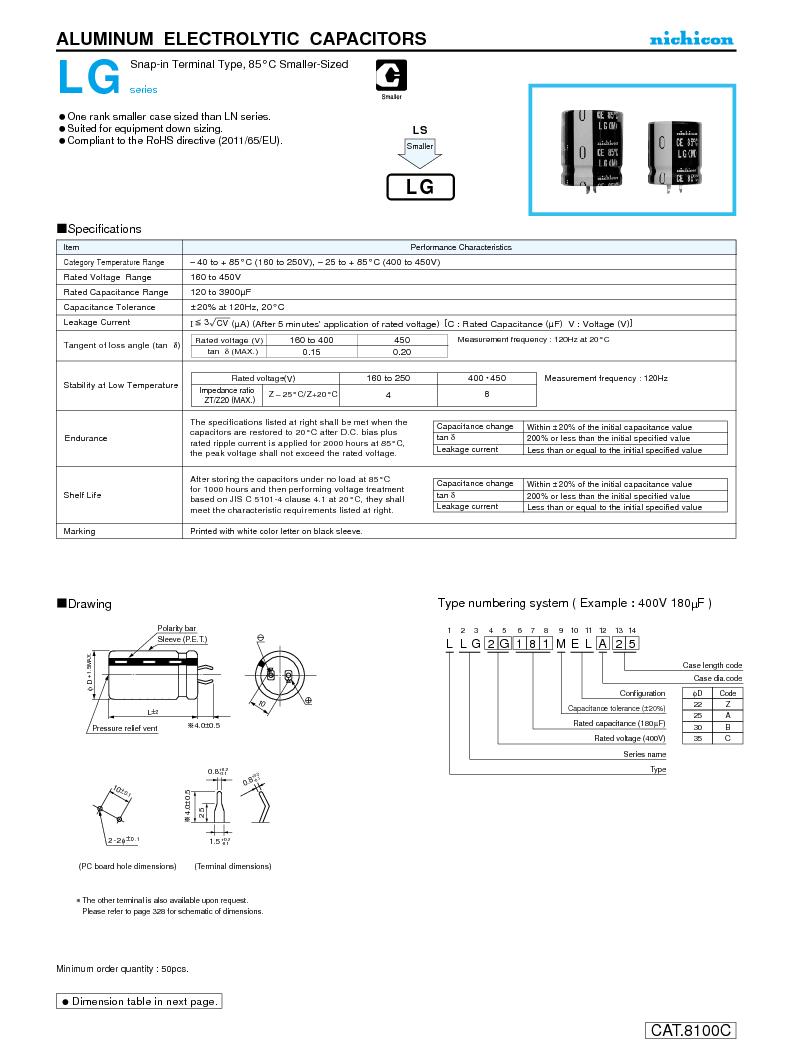 LLG2E561MELA30 ,Nichicon厂商,CAP ALUM 250V 560UF 20% SNAP, LLG2E561MELA30 datasheet预览  第1页