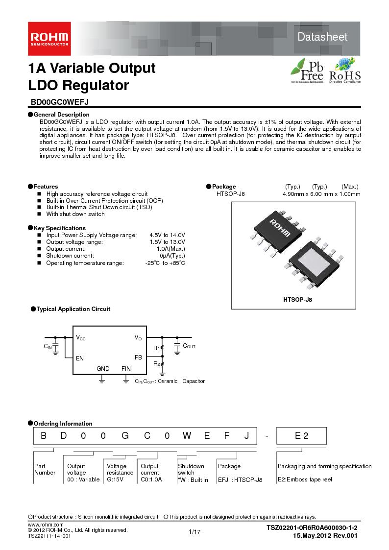 BD00GC0WEFJ-E2 ,Rohm Semiconductor厂商,IC REG LDO ADJ 1A 8-HTSOP, BD00GC0WEFJ-E2 datasheet预览  第1页