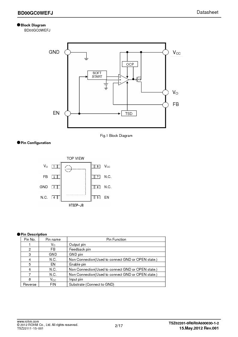 BD00GC0WEFJ-E2 ,Rohm Semiconductor厂商,IC REG LDO ADJ 1A 8-HTSOP, BD00GC0WEFJ-E2 datasheet预览  第2页