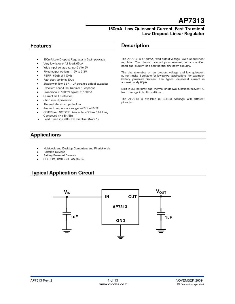 AP7313-18SAG-7 ,Diodes Inc厂商,IC REG LDO 1.8V .15A SOT23, AP7313-18SAG-7 datasheet预览  第1页