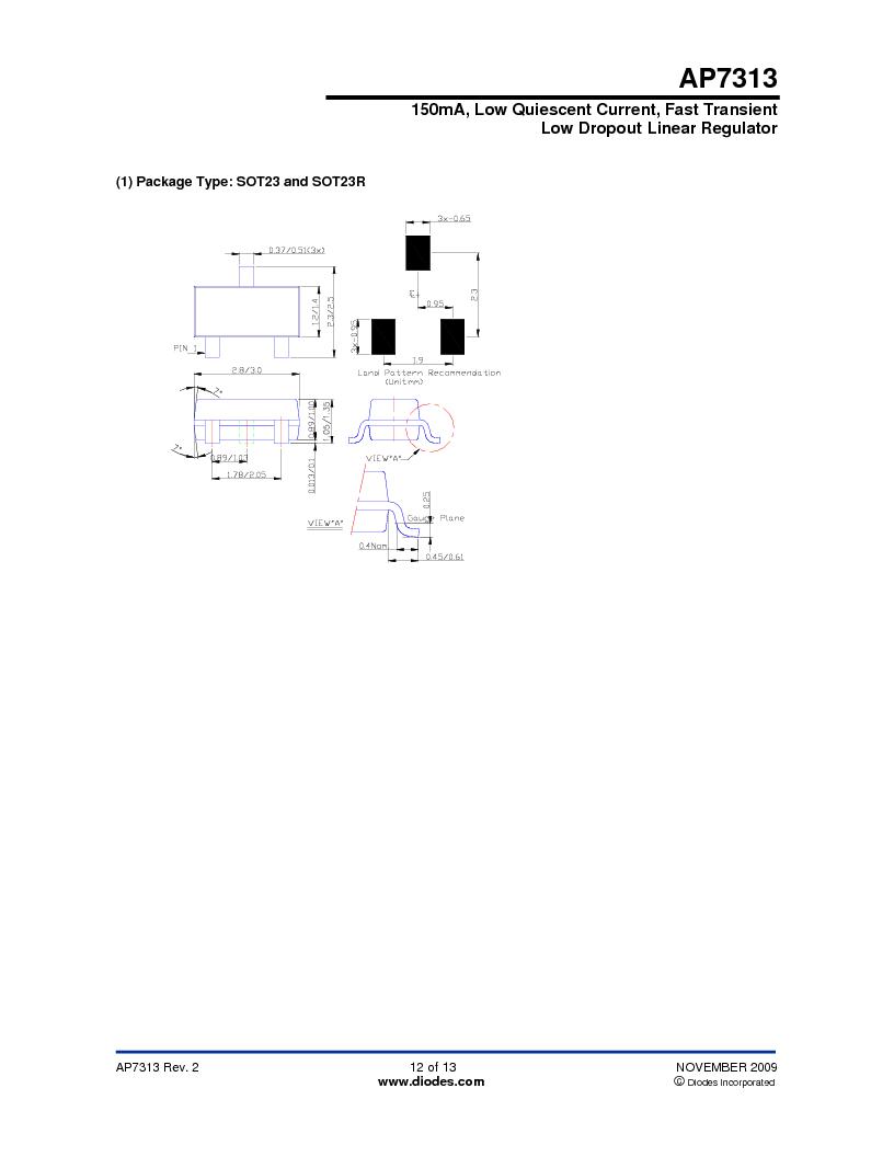 AP7313-18SAG-7 ,Diodes Inc厂商,IC REG LDO 1.8V .15A SOT23, AP7313-18SAG-7 datasheet预览  第12页