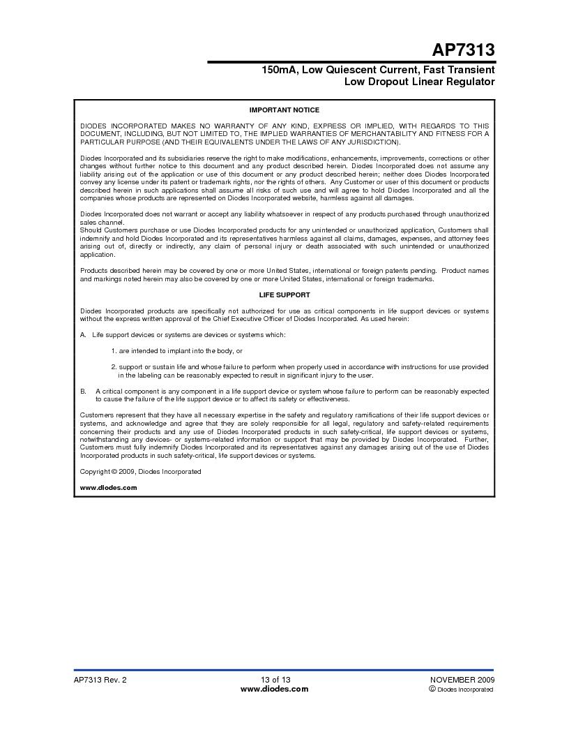 AP7313-18SAG-7 ,Diodes Inc厂商,IC REG LDO 1.8V .15A SOT23, AP7313-18SAG-7 datasheet预览  第13页