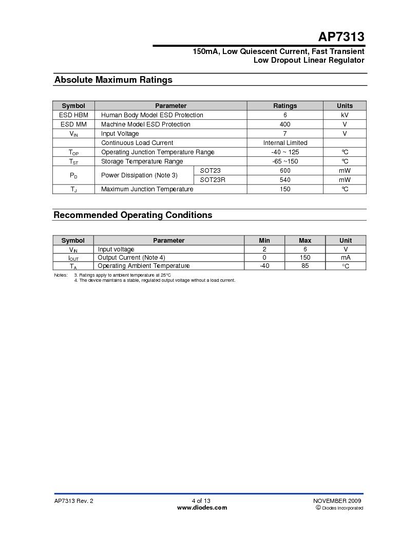 AP7313-18SAG-7 ,Diodes Inc厂商,IC REG LDO 1.8V .15A SOT23, AP7313-18SAG-7 datasheet预览  第4页