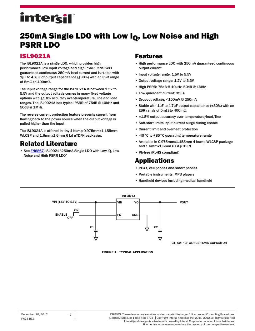 ISL9021AIINZ-T ,Intersil厂商,IC REG LDO 3.3V .25A 4WLCSP, ISL9021AIINZ-T datasheet预览  第1页