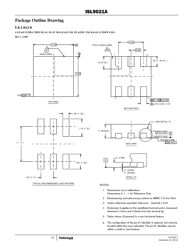 ISL9021AIINZ-T ,Intersil厂商,IC REG LDO 3.3V .25A 4WLCSP, ISL9021AIINZ-T datasheet预览  第11页