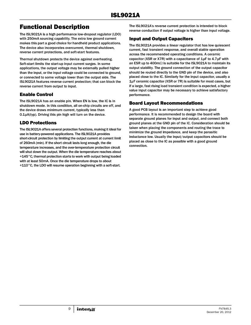 ISL9021AIINZ-T ,Intersil厂商,IC REG LDO 3.3V .25A 4WLCSP, ISL9021AIINZ-T datasheet预览  第9页