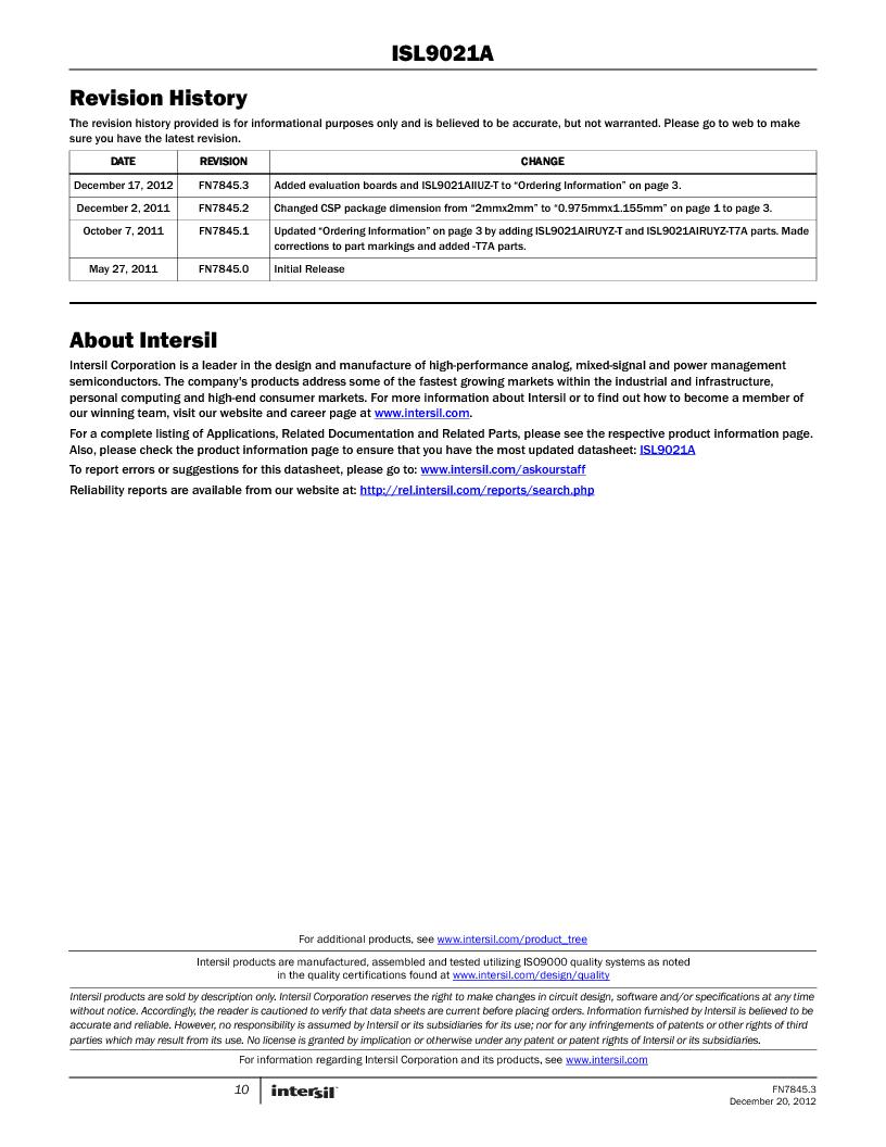 ISL9021AIINZ-T ,Intersil厂商,IC REG LDO 3.3V .25A 4WLCSP, ISL9021AIINZ-T datasheet预览  第10页