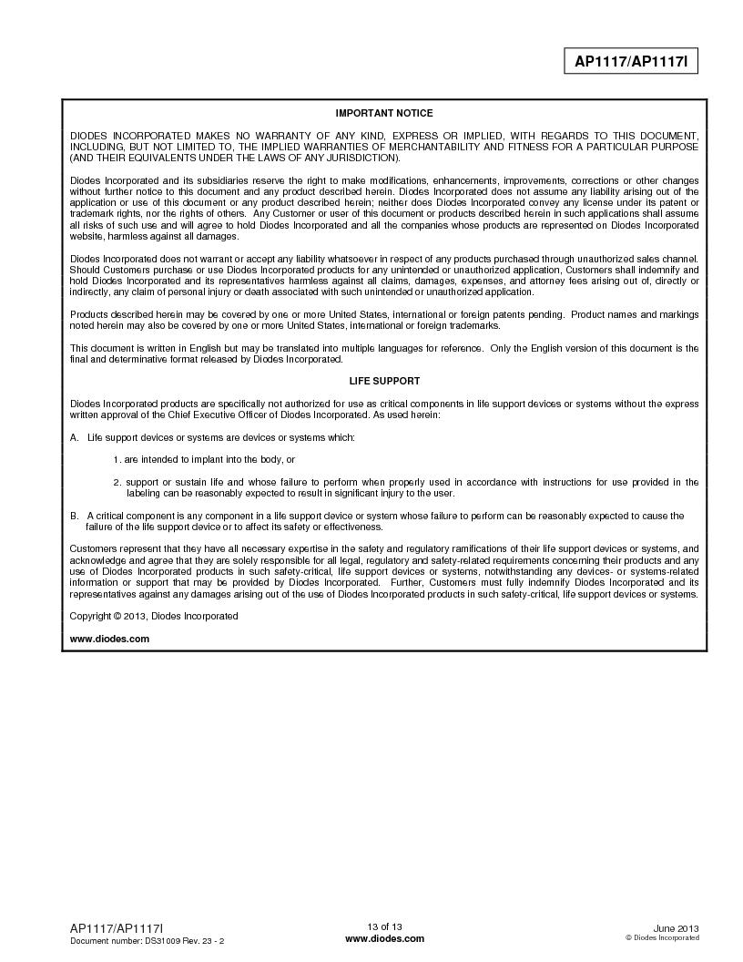 AP1117DL-13 ,Diodes Inc厂商,IC REG LDO ADJ 1A TO-252, AP1117DL-13 datasheet预览  第13页