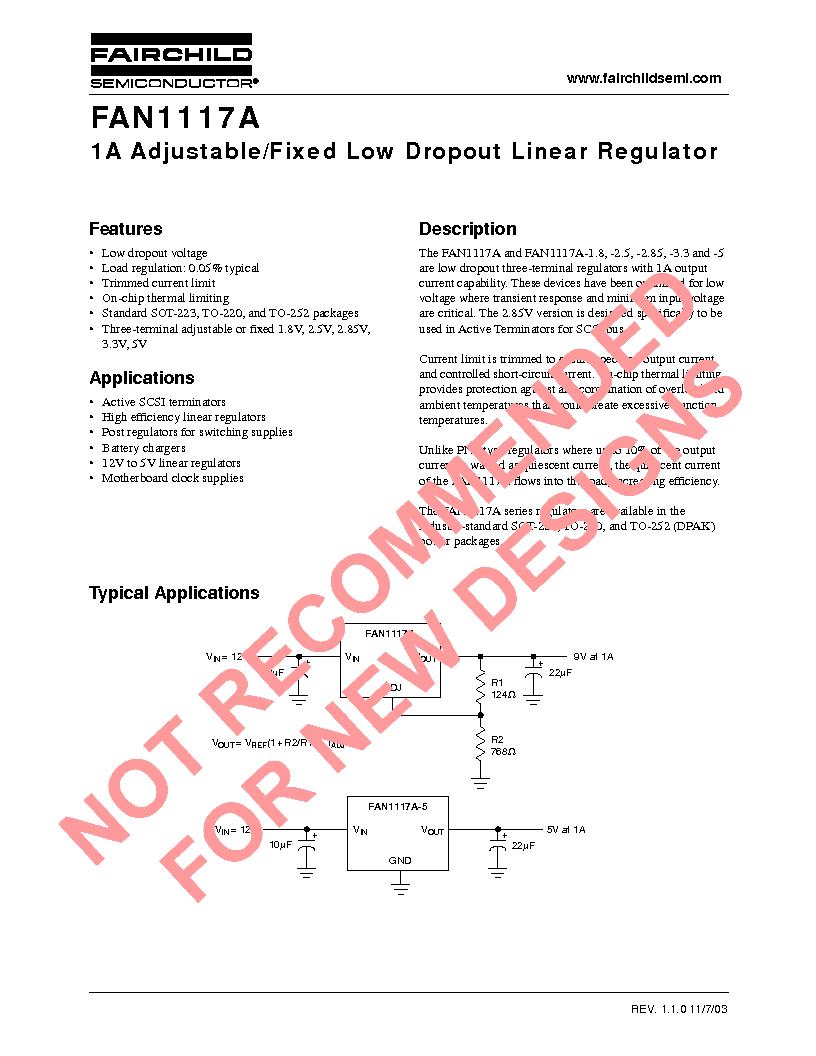 FAN1117AS18X ,Fairchild Semiconductor厂商,IC REG LDO 1.8V 1A SOT-223, FAN1117AS18X datasheet预览  第1页