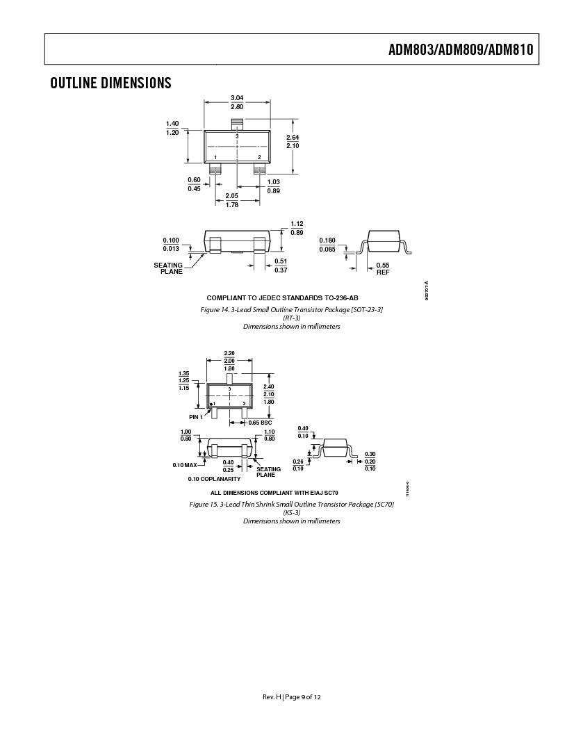 ADM809SART-REEL7 ,Analog Devices Inc厂商,IC SUPERVSR PUSHPULL 2.93V SOT23, ADM809SART-REEL7 datasheet预览  第9页