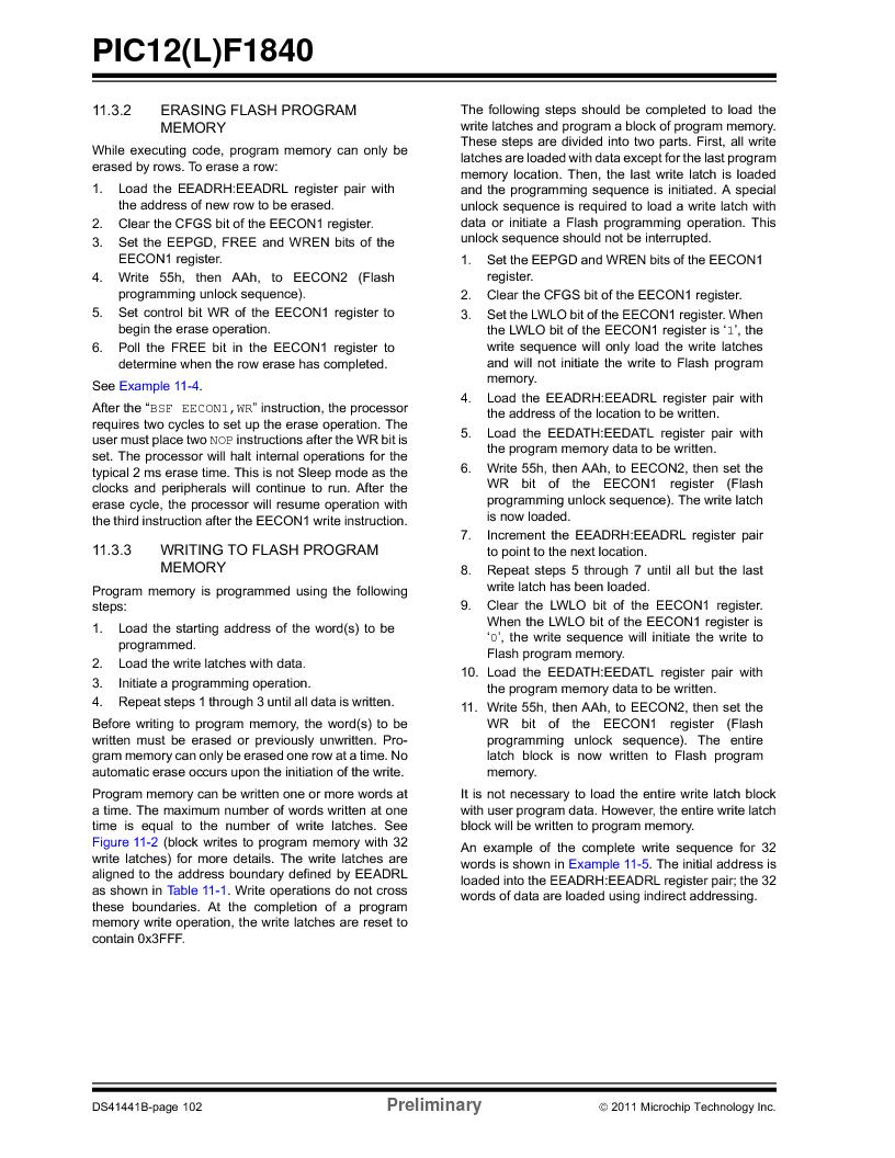 PIC12F1840-I/SN ,Microchip Technology厂商,MCU 7KB FLASH 256B RAM 8-SOIC, PIC12F1840-I/SN datasheet预览  第102页