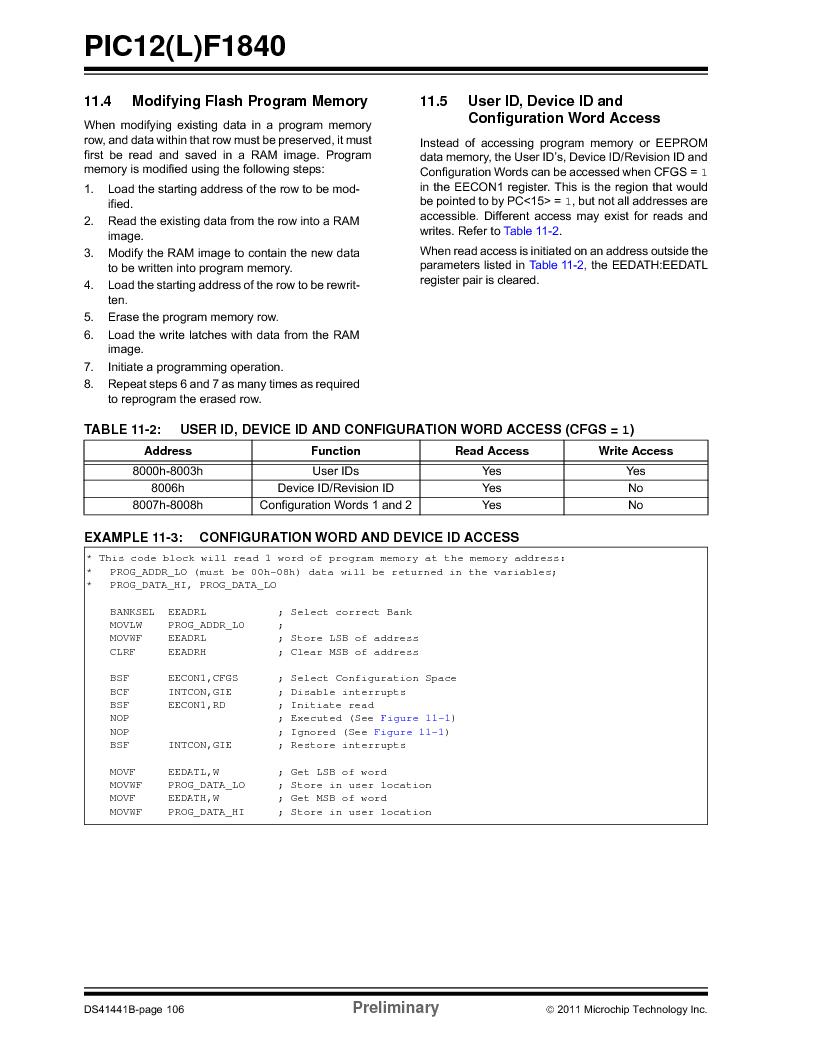 PIC12F1840-I/SN ,Microchip Technology厂商,MCU 7KB FLASH 256B RAM 8-SOIC, PIC12F1840-I/SN datasheet预览  第106页