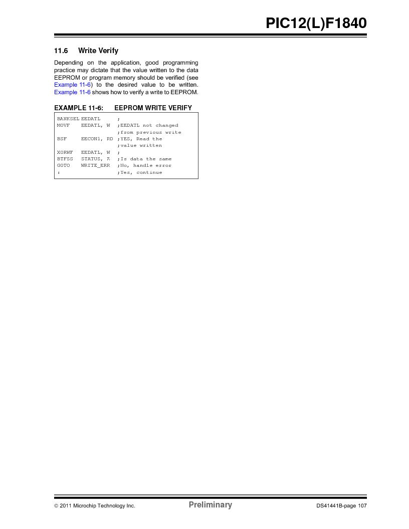 PIC12F1840-I/SN ,Microchip Technology厂商,MCU 7KB FLASH 256B RAM 8-SOIC, PIC12F1840-I/SN datasheet预览  第107页