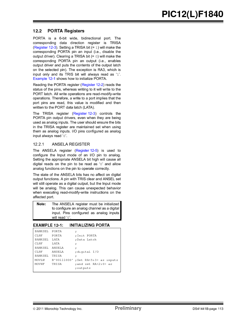 PIC12F1840-I/SN ,Microchip Technology厂商,MCU 7KB FLASH 256B RAM 8-SOIC, PIC12F1840-I/SN datasheet预览  第113页