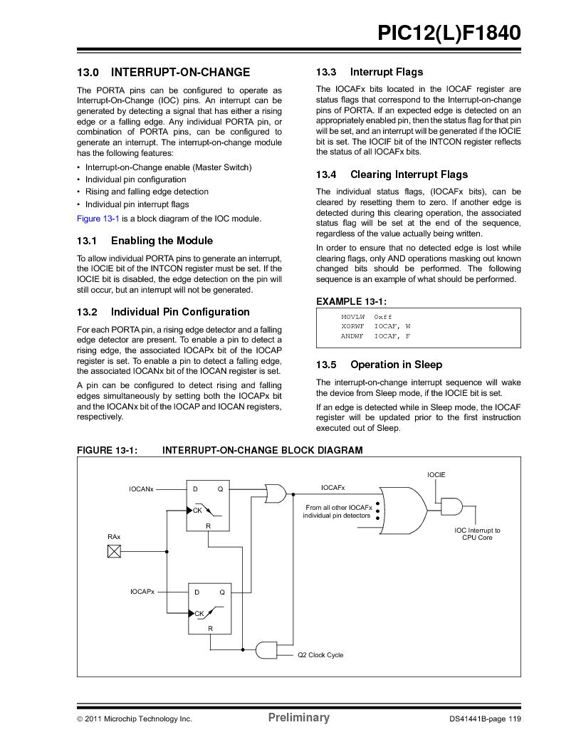 PIC12F1840-I/SN ,Microchip Technology厂商,MCU 7KB FLASH 256B RAM 8-SOIC, PIC12F1840-I/SN datasheet预览  第119页