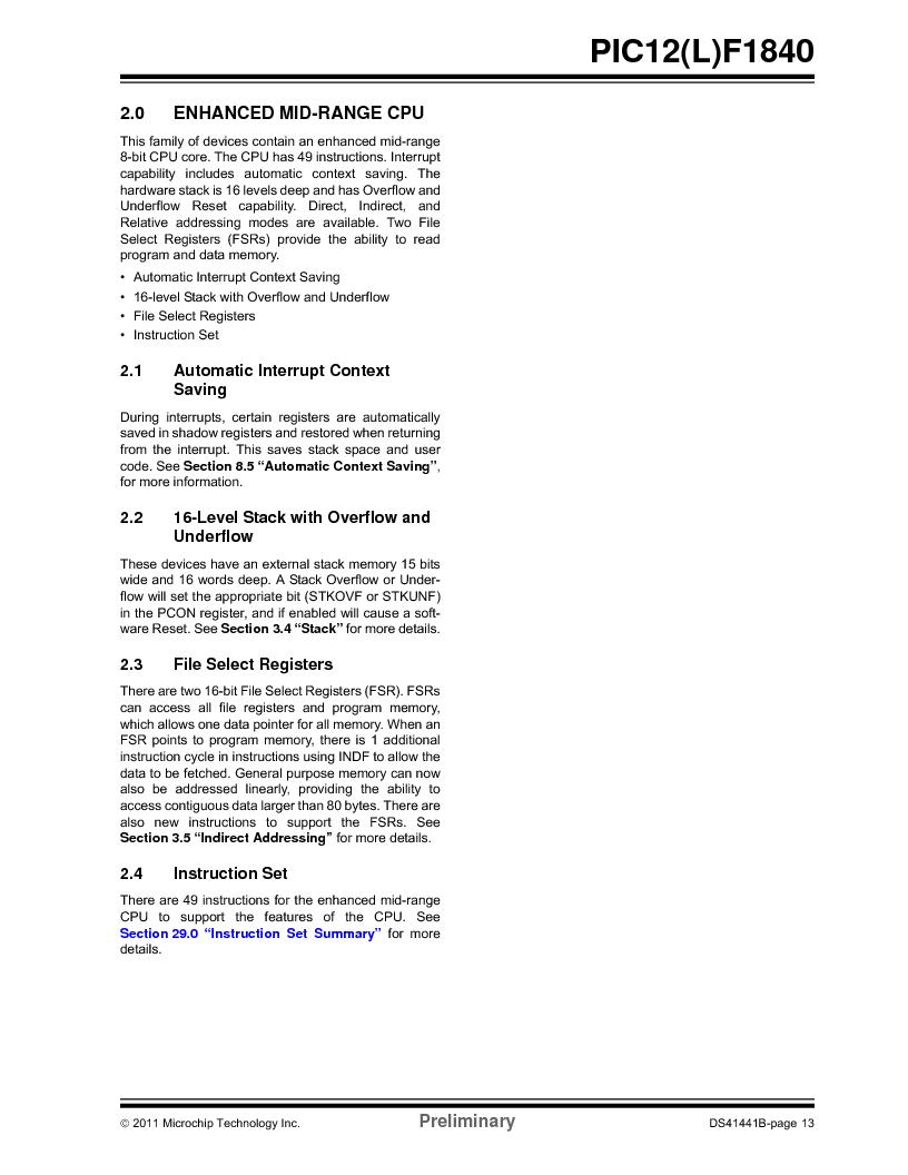 PIC12F1840-I/SN ,Microchip Technology厂商,MCU 7KB FLASH 256B RAM 8-SOIC, PIC12F1840-I/SN datasheet预览  第13页