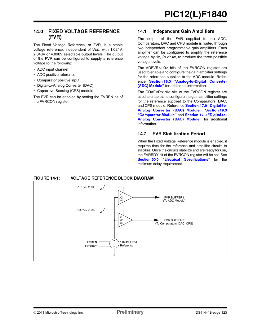 PIC12F1840-I/SN ,Microchip Technology厂商,MCU 7KB FLASH 256B RAM 8-SOIC, PIC12F1840-I/SN datasheet预览  第123页