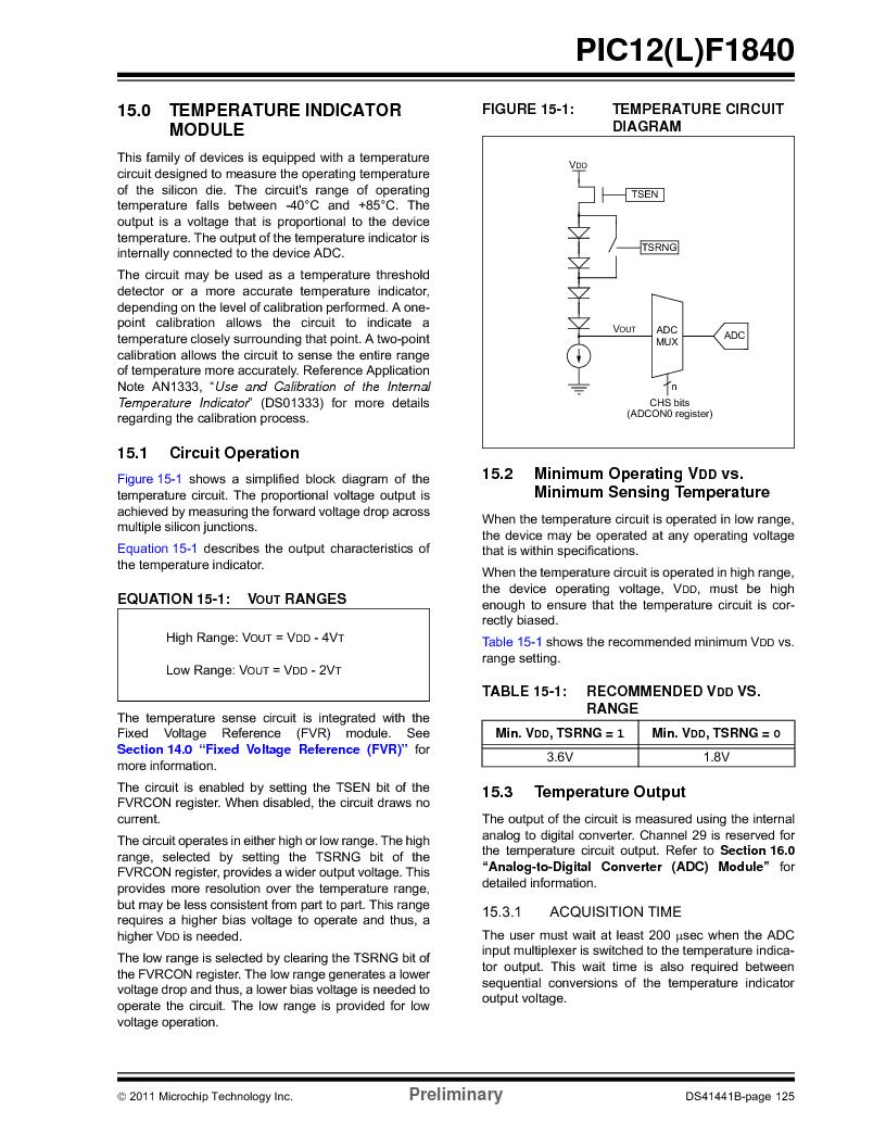 PIC12F1840-I/SN ,Microchip Technology厂商,MCU 7KB FLASH 256B RAM 8-SOIC, PIC12F1840-I/SN datasheet预览  第125页