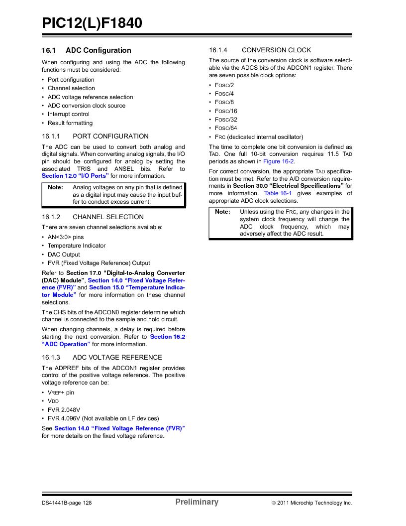 PIC12F1840-I/SN ,Microchip Technology厂商,MCU 7KB FLASH 256B RAM 8-SOIC, PIC12F1840-I/SN datasheet预览  第128页