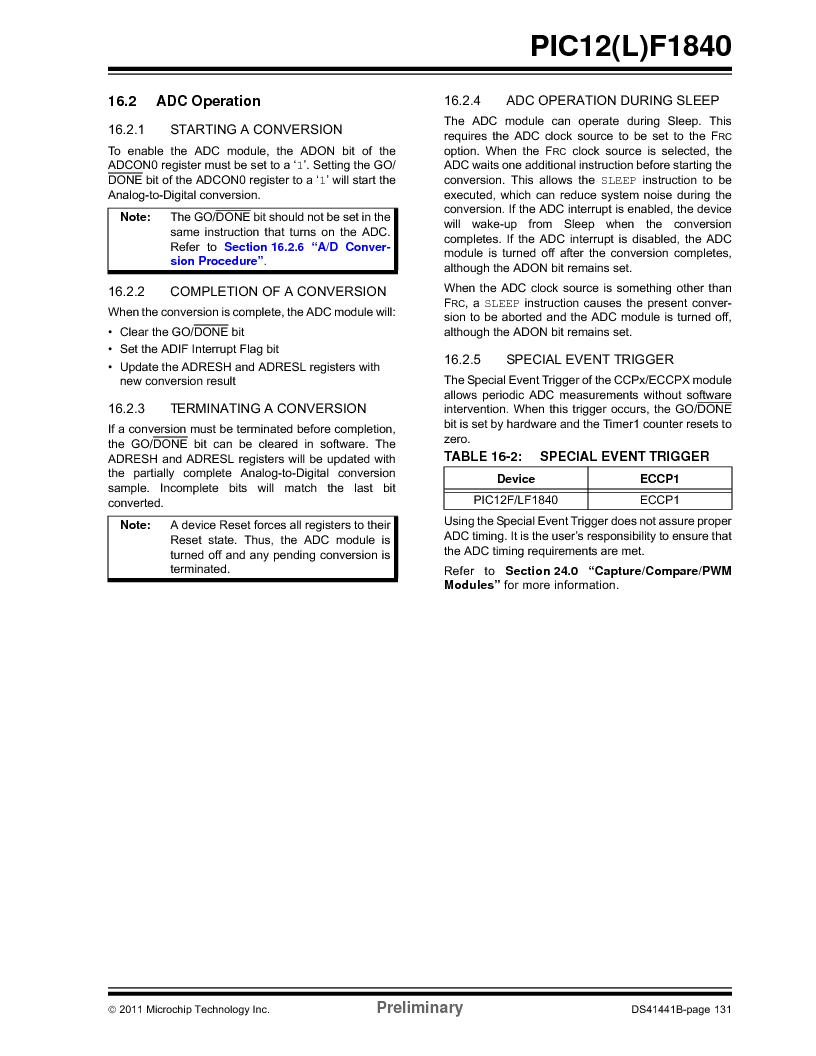 PIC12F1840-I/SN ,Microchip Technology厂商,MCU 7KB FLASH 256B RAM 8-SOIC, PIC12F1840-I/SN datasheet预览  第131页