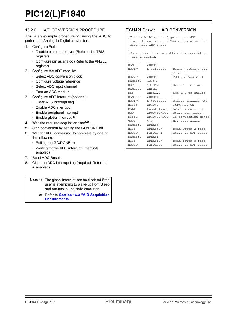 PIC12F1840-I/SN ,Microchip Technology厂商,MCU 7KB FLASH 256B RAM 8-SOIC, PIC12F1840-I/SN datasheet预览  第132页