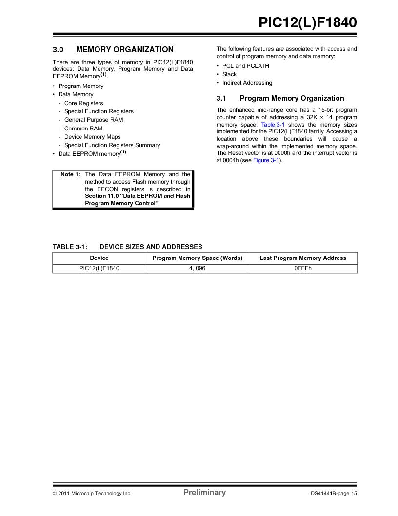 PIC12F1840-I/SN ,Microchip Technology厂商,MCU 7KB FLASH 256B RAM 8-SOIC, PIC12F1840-I/SN datasheet预览  第15页