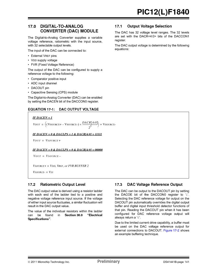 PIC12F1840-I/SN ,Microchip Technology厂商,MCU 7KB FLASH 256B RAM 8-SOIC, PIC12F1840-I/SN datasheet预览  第141页