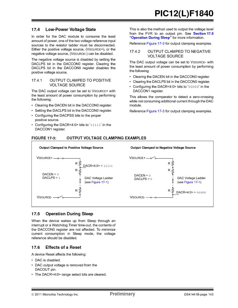 PIC12F1840-I/SN ,Microchip Technology厂商,MCU 7KB FLASH 256B RAM 8-SOIC, PIC12F1840-I/SN datasheet预览  第143页