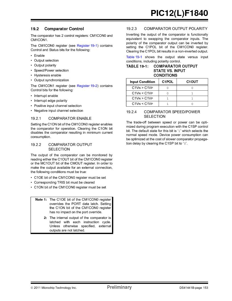PIC12F1840-I/SN ,Microchip Technology厂商,MCU 7KB FLASH 256B RAM 8-SOIC, PIC12F1840-I/SN datasheet预览  第153页