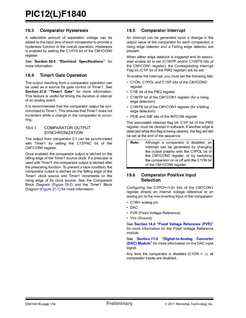 PIC12F1840-I/SN ,Microchip Technology厂商,MCU 7KB FLASH 256B RAM 8-SOIC, PIC12F1840-I/SN datasheet预览  第154页