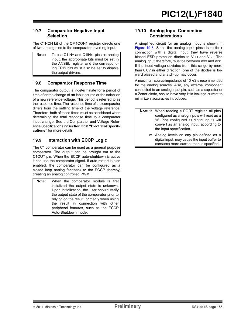 PIC12F1840-I/SN ,Microchip Technology厂商,MCU 7KB FLASH 256B RAM 8-SOIC, PIC12F1840-I/SN datasheet预览  第155页