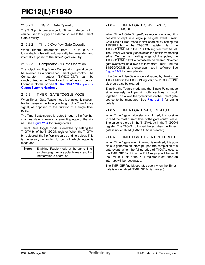 PIC12F1840-I/SN ,Microchip Technology厂商,MCU 7KB FLASH 256B RAM 8-SOIC, PIC12F1840-I/SN datasheet预览  第166页