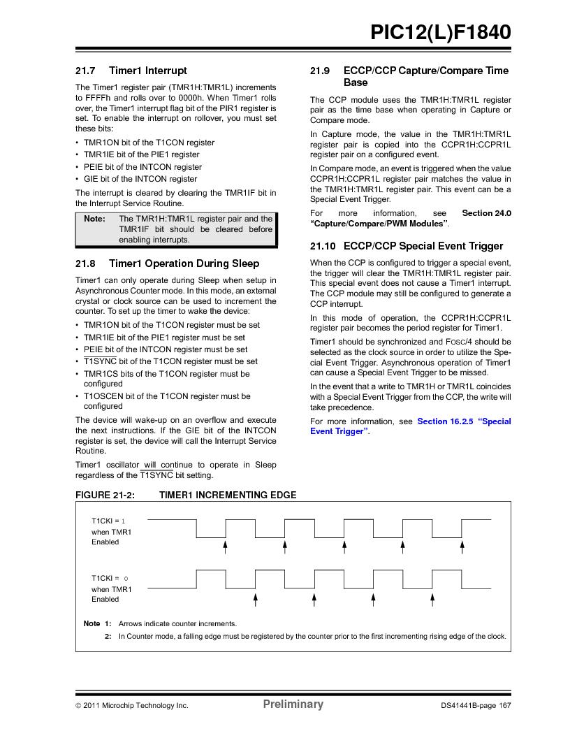 PIC12F1840-I/SN ,Microchip Technology厂商,MCU 7KB FLASH 256B RAM 8-SOIC, PIC12F1840-I/SN datasheet预览  第167页