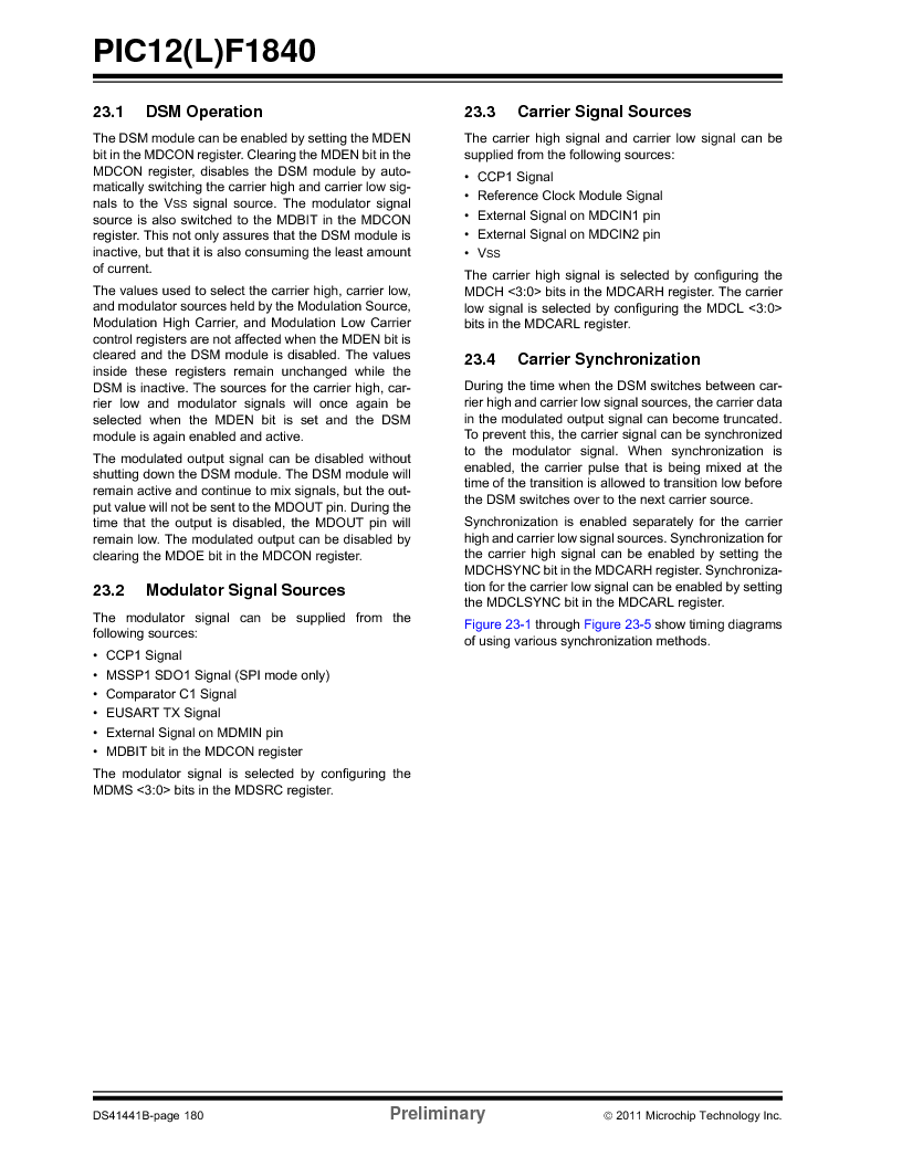 PIC12F1840-I/SN ,Microchip Technology厂商,MCU 7KB FLASH 256B RAM 8-SOIC, PIC12F1840-I/SN datasheet预览  第180页