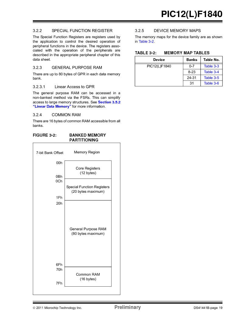 PIC12F1840-I/SN ,Microchip Technology厂商,MCU 7KB FLASH 256B RAM 8-SOIC, PIC12F1840-I/SN datasheet预览  第19页